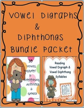 "LANGUAGE ARTS – ""Reading Vowel Digraphs & Diphthongs Bundle Packet ..."