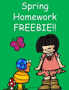Spring Homework Freebie Cover Page