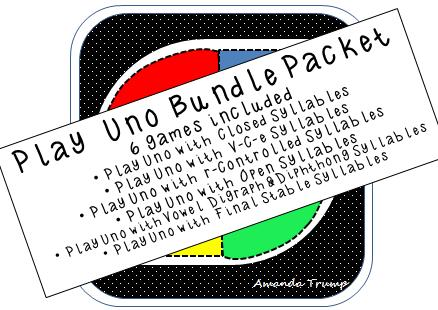 "LANGUAGE ARTS – ""Playing Uno with Syllable Type Reading Bundle ..."