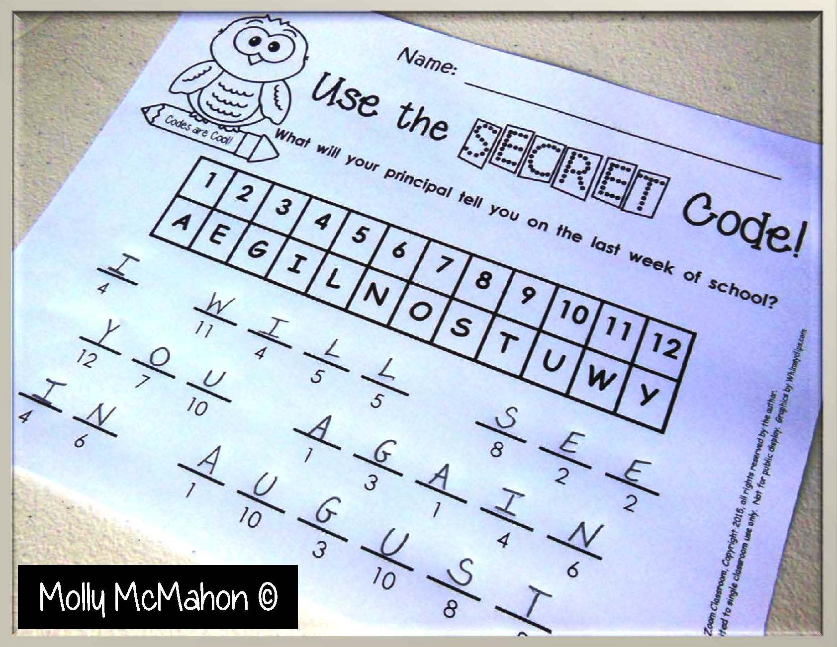 FREE MISC. LESSON – End of the Year Alpha-Numeric Codes – The Best ...