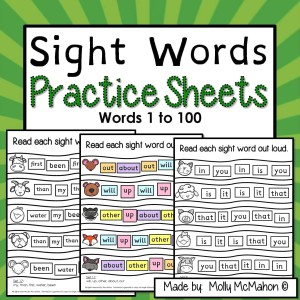 Sight words sheets for instant word recognitionpractice.