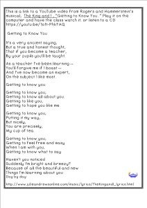 GettingToKnowYourClassmatesandYourTeacher lyrics