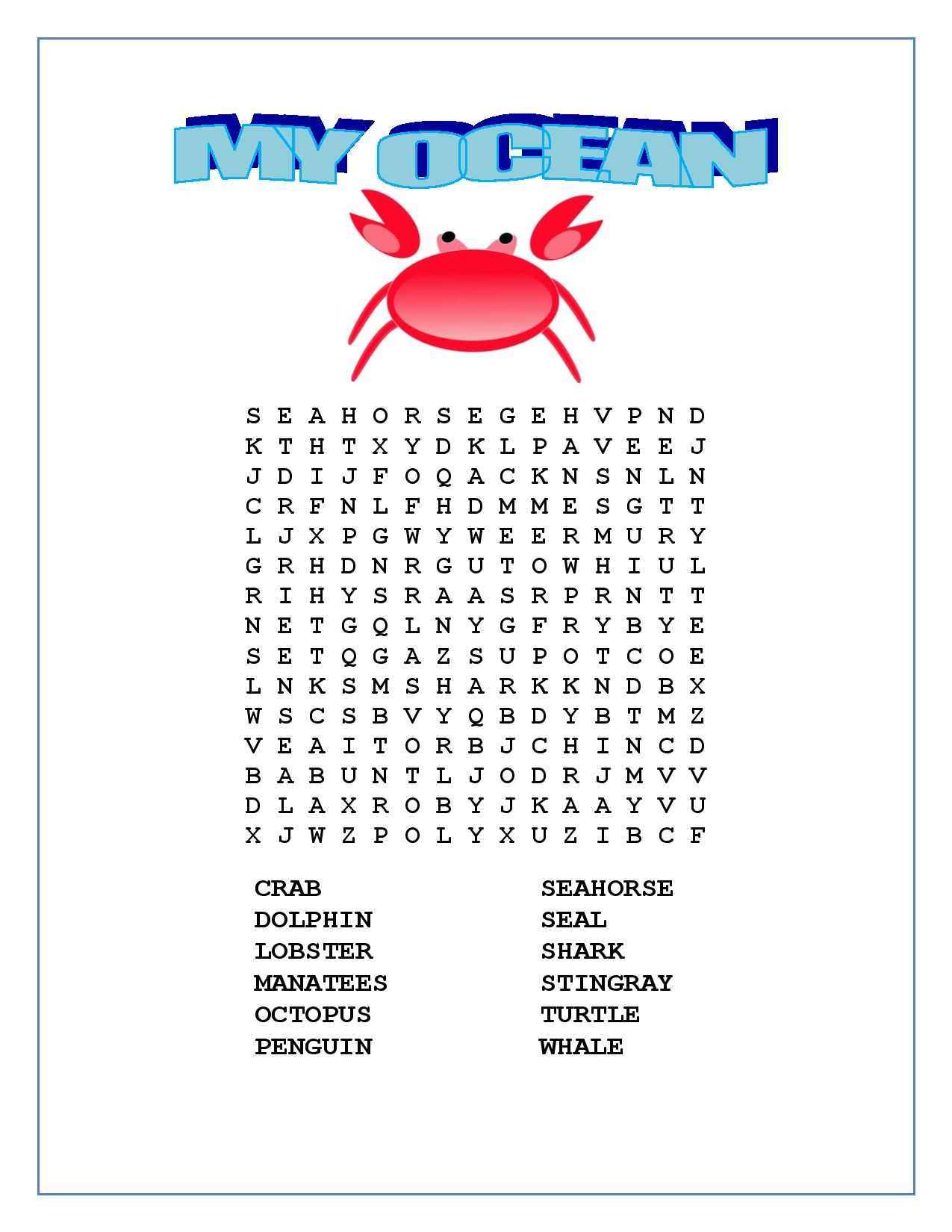 Language Arts Lesson-OCEAN Animals Bingo- Pre K-2 – Writing Prompt ...