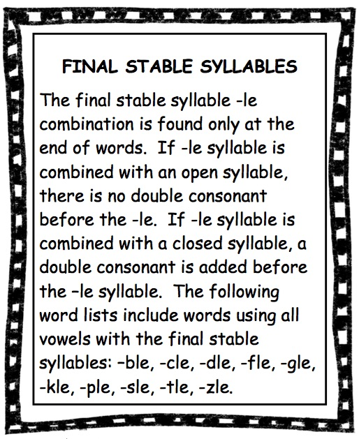 LANGUAGE ARTS Reading Final Stable Syllables The Best of – Consonant Le Worksheets