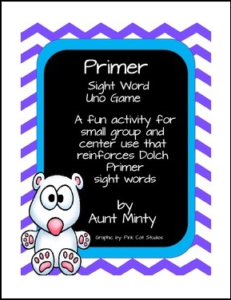 Dolch Sight Word Primer UNO Card Game