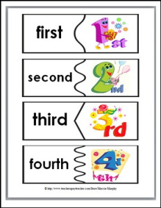 Ordinal Words and Numbers Word Wall