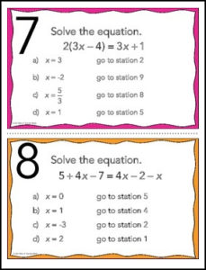 Solving Multi-Step Equations Stations
