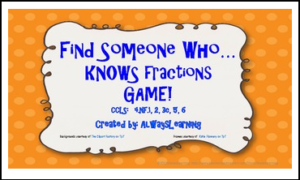 Find Someone Who Knows Fractions Game