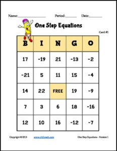 One Step Equations Bingo