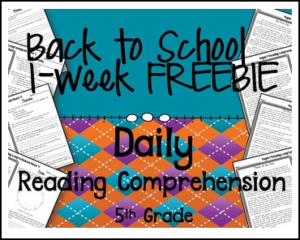 Back to School Daily Reading Comprehension