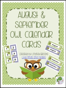 Owl Calendar Cards and Headers