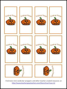 Halloween Mini Candy Bar Wrappers