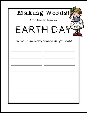 """FREE LANGUAGE ARTS LESSON – """"Earth Day Making Words with Letter"""