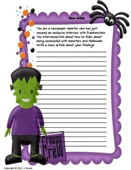 "FREE LANGUAGE ARTS LESSON – ""Halloween Writing Prompts and"
