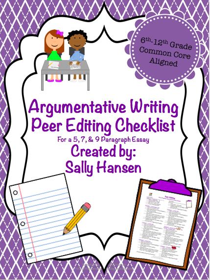 5 paragraph essay peer editing checklist