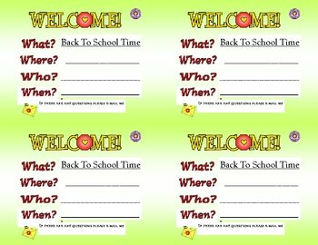 """FREE MISC  LESSON – """"Welcome Back to School Cards"""" – The"""